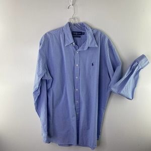 RALPH LAUREN Men's Vintage Button Down Blue XL